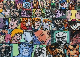 Légende image: Gudmundur ERRÓ Visages, 2011 Acrylique sur toile