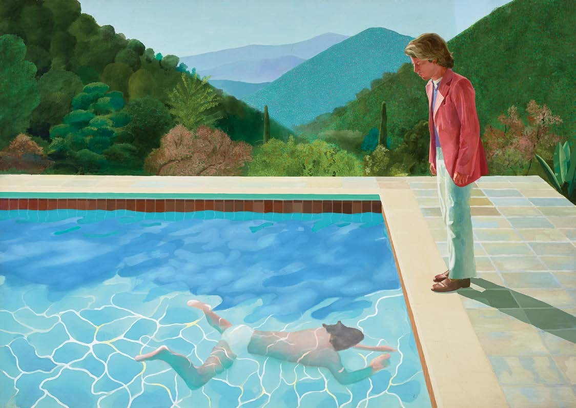 Portrait of an Artist (Pool with Two Figures), 1972 Acrylique sur toile, 2140 x 3048 mm Collection Lewis © David Hockney Photo Credit : Art Gallery of New South Wales / Jenni Carter