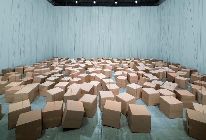 255 prepared ac-motors, rope, cardboard boxes 30 x 30 x 30 cm, 2017, Zimoun, Mécaniques remontées, Le Centquatre-Paris