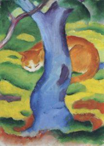 Franz Marc Tableau pour enfants (Chat derrière un arbre), 1911 Huile sur toile, 70,2 × 50 cm Collection particulière © Christie's Images Limited
