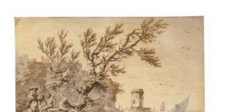 Claude-Joseph Vernet (1714 — 1789) Vue de bord de mer, avec des pêcheurs, 1754 Plume et encre brune, lavis d'encre brune et grise Feuille : 378 x 541 mm, cadre : 51,2 x 67,8 mm Genève, Collection Jean Bonna