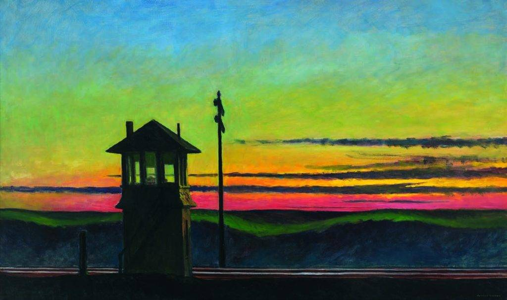 Railroad Sunset, 1929 Huile sur toile, 74,5 x 122,2 cm Whitney Museum of American Art, New York ; Josephine N. Hopper Bequest Inv. N.: 70.1170. © Heirs of Josephine Hopper / 2019, ProLitteris, Zurich Photo: © 2019. Digital image Whitney Museum of American Art / Licensed by Scala