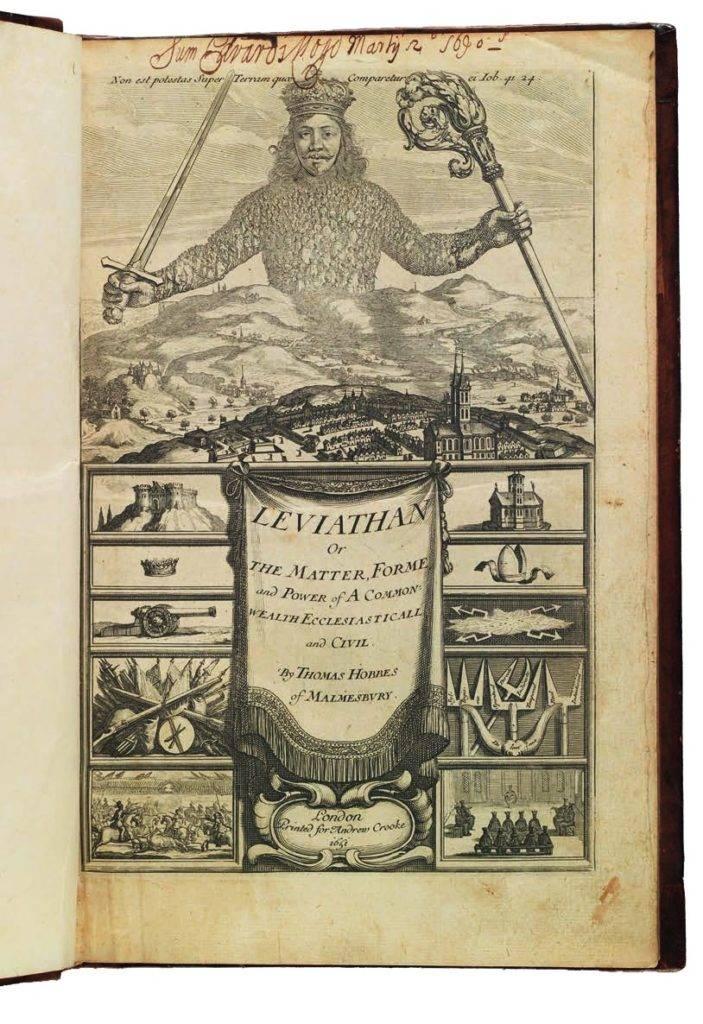 Thomas Hobbes (1588-1679), Léviathan, Londres, Andrew Crook, 1651, édition originale © Cologny, Fondation Martin Bodmer