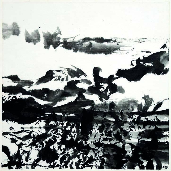 Zao Wou-Ki, 1986 Encre sur papier, 35 x 35 cm Galerie Schifferli, Genève